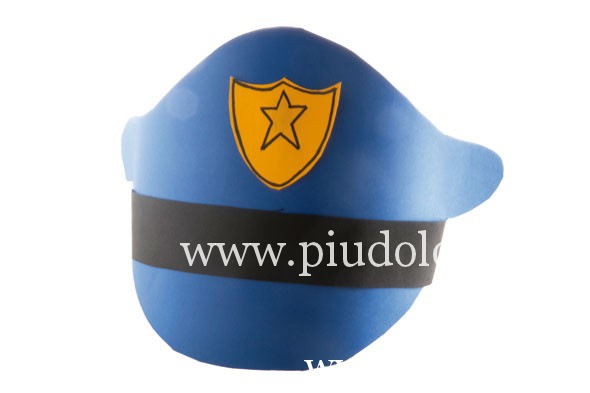 Ingredienti. Cappello POLIZIOTTO  cartoncino blu 4dc70572d5a8